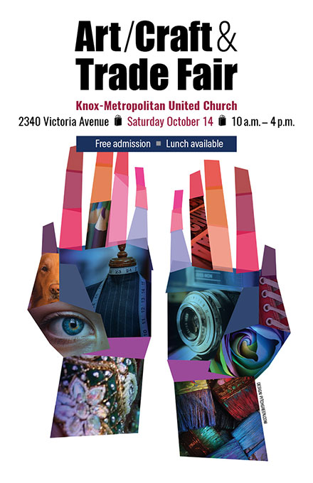 Art fair poster for Knox-Metropolitan United Church by Dan Coggins, Pitchgreen Communications