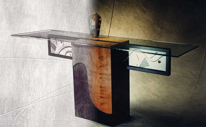 Photoshop treatment of design into actual table for Bonnie Chapman by Dan Coggins, Pitchgreen Communications