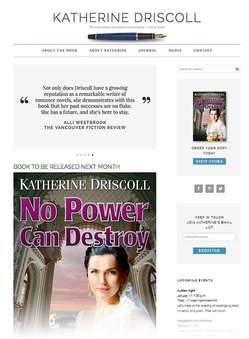 Webpage design for romance novel No Power Can Destroy by Dan Coggins, Pitchgreen Communications