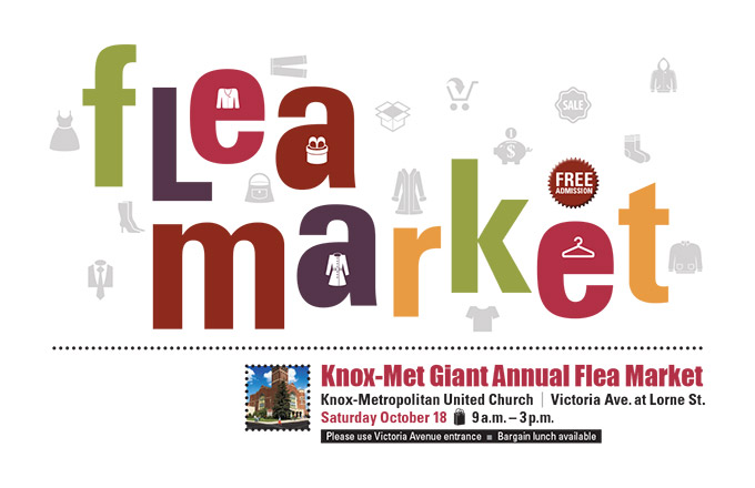 Flea market poster for Knox-Metropolitan United Church by Dan Coggins, Pitchgreen Communications