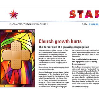 Star newsletter cover for Knox-Metropolitan United Church by Dan Coggins, Pitchgreen Communications