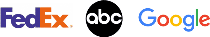 The logos for FedEx, ABC TV Network, and Google show logos without graphics.
